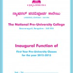 Inaugural function of first Year Pre-University Classes for the year 2012-2013