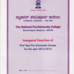 Inaugural Function of First Year PUC for the Year 2015-2016